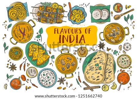Hand drawn Indian food, Vector Illustration Royalty-Free Stock Photo #1251662740