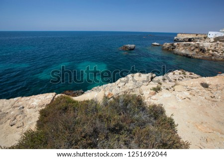 View of the Mediterranean Sea from the island of Tabarca, near Alicante, Spain #1251692044