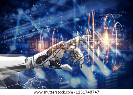 3D illustration of a robot hand. IT technology. Selection Artificial Intelligence. Dark blue background #1251748747