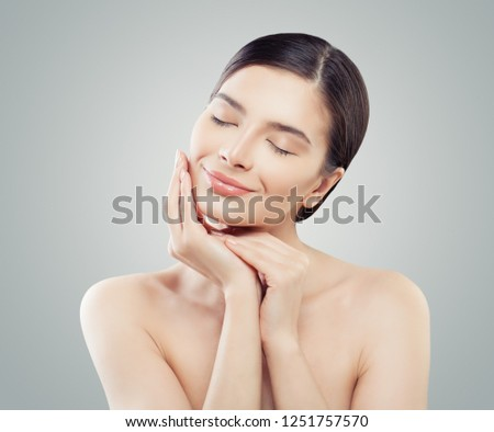 Beautiful female face. Spa, cosmetology, facelift, skincare and facial treatment concept #1251757570