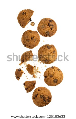 Several chocolate chip cookies #125183633