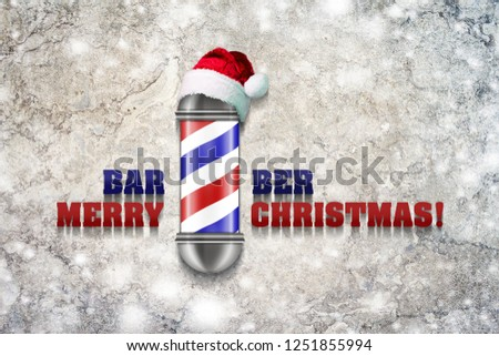 Barber Pole with Santa Claus hat on a gray background. Inscription, Barber Merry Christmas. Greeting card Happy New Year and Merry Christmas for a hairdresser and barber shop. The effect of snow.