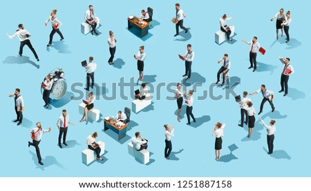 Conceptual image of business processes with businessman and businesswoman. Flat isometric view. The human resources, communication, internet, teamwork concept. Miniature people. Collage #1251887158
