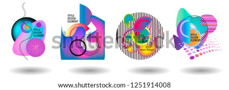 Set of abstract modern graphic elements. Dynamical colored forms and line. Gradient abstract banners with flowing liquid shapes. Template for the design of a logo, flyer or presentation. Vector. #1251914008