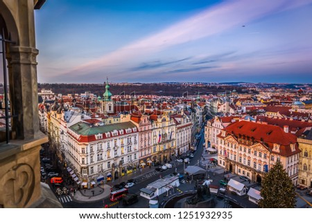 View on Prague panorama with red roofs and historic architecture from staromestska radnice, Old Town Hall, Czech Republic #1251932935