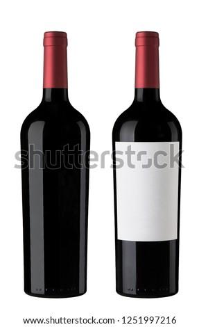 Pair of Red wine Bottles  #1251997216