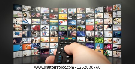 Television streaming video concept. Media TV video on demand technology. Video service with internet streaming multimedia shows, series. Digital collage wall of screen abstract composition #1252038760
