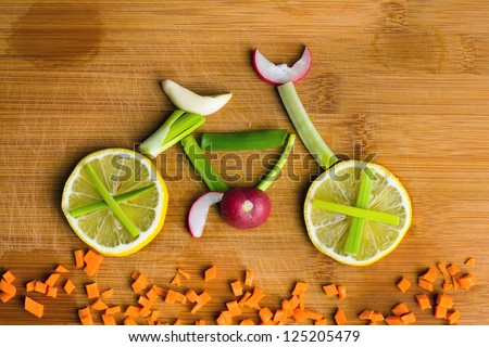 Healthy lifestyle concept - vegetable bike Royalty-Free Stock Photo #125205479