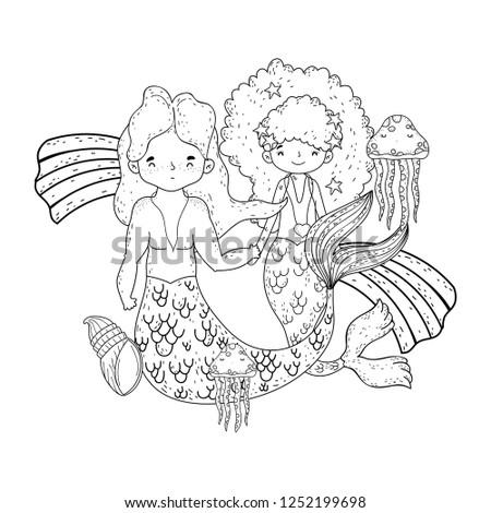 couple mermaids with rainbow undersea #1252199698
