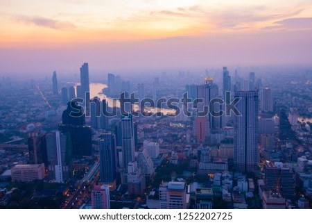 Cityscape sunset aerial view from top building, Aerial view of Bangkok city in Thailand #1252202725