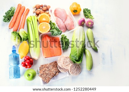 Healthy eating plan. Diet and meal planning. Top view. Flat lay with copy space #1252280449