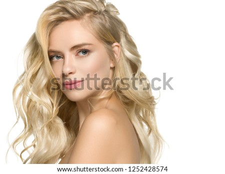 Beautiful blonde woman with curly blonde hair isolated on white with healthy skin and hairstyle female portrait natural makeup #1252428574