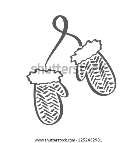Winter scandinavian contour mittens  icon. Brush Line illustration. Children gloves. Contour symbol.  isolated outline drawing.