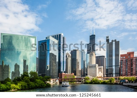 West Wacker Drive Skyline in Chicago as seen from the city river