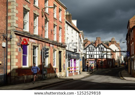 Ashbourne,Derbyshire,UK: March 1st 2017: Storm clouds gather over the historic town of Ashbourne in the Derbyshire dales on a Winters morning. #1252529818