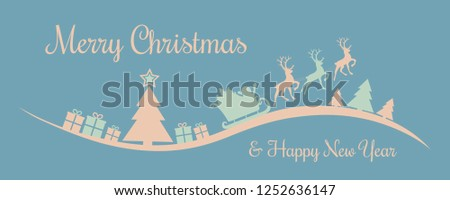 Christmas banner in retro style with Santa Claus and Christmas tree. Vector #1252636147