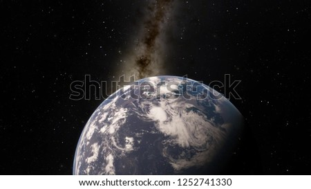 Planet Earth from space 3D illustration (Elements of this image furnished by NASA) #1252741330