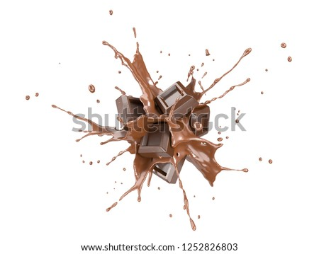 Chocolate blocks splashing into a liquid chocolate burst. On white background. #1252826803