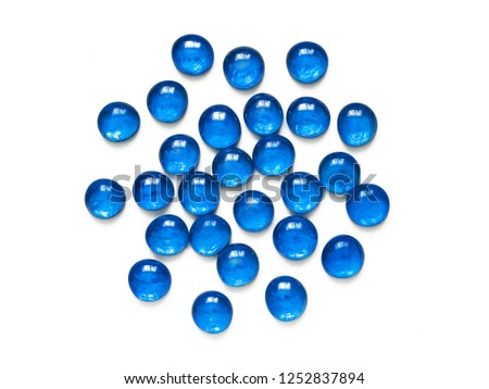 Transparent blue glass stones for handmade isolated on white background #1252837894