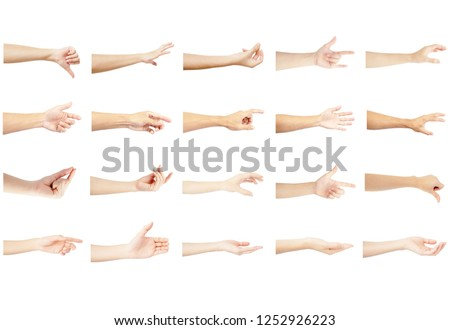 left hand multiple collection with reaching out in gesture of man and woman isolated on white background #1252926223