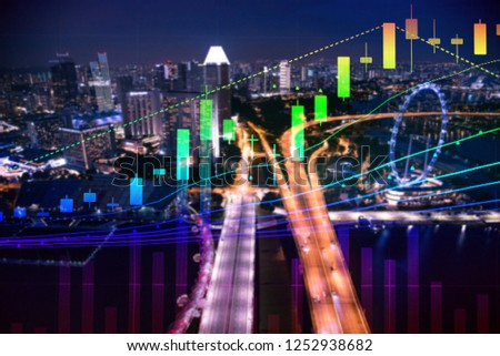 Charts of financial instruments with various type of indicators including volume analysis for professional technical analysis on the monitor of a computer. Fundamental and technical analysis concept. #1252938682