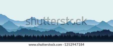 Realistic illustration of mountain landscape with hill and forest with coniferous trees, under blue winter sky with space for text - vector Royalty-Free Stock Photo #1252947184