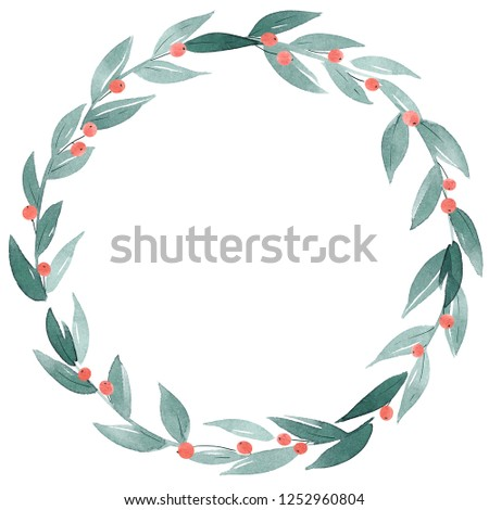 Watercolor Wreath clip art. Hand drawn decorative frame of branches, leaves and berries with bow lace. Simple Christmas decoration.