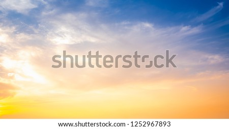Sunset sky for background,sunrise sky and cloud at morning. #1252967893