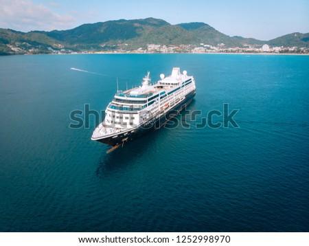 Large Cruise ship sailing across The Andaman sea - Aerial image. Beautiful  sea landscape #1252998970