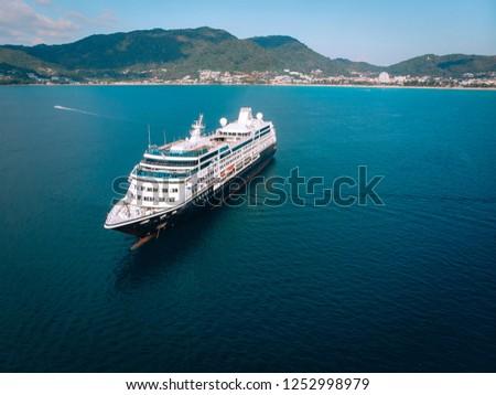 Large Cruise ship sailing across The Andaman sea - Aerial image. Beautiful  sea landscape #1252998979