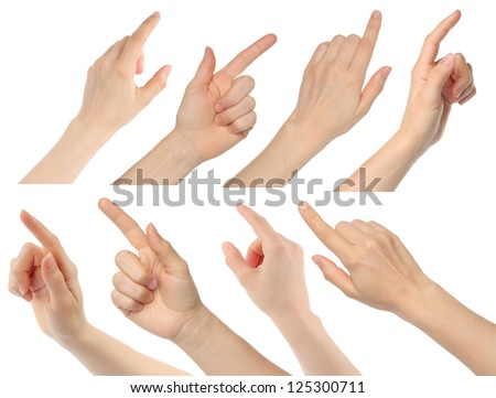 Woman hands on white background Royalty-Free Stock Photo #125300711