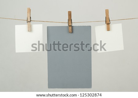 white memory note papers hanging on cord #125302874
