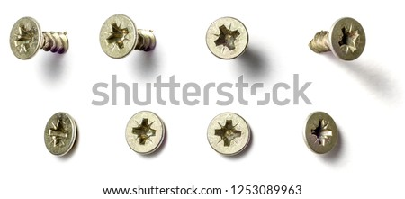 A screw from different perspectives on a white background #1253089963