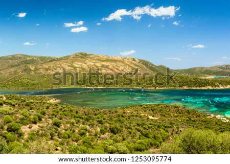 Panoramic view of Cape Malfatano, beautiful landscape on the south coast of Sardinia #1253095774