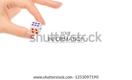 Dice in hand pattern on white background isolation #1253097190