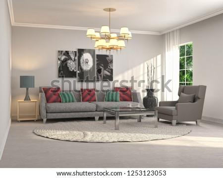 Interior of the living room. 3D illustration #1253123053
