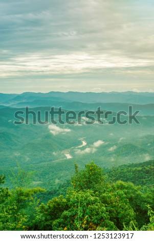 View Sunrise light morning Doi samer dao at Sri Nan National Park from Nan Province, Thailand. #1253123917