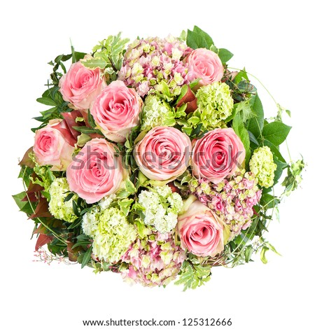 pink roses. beautiful flowers bouquet isolated on white background #125312666