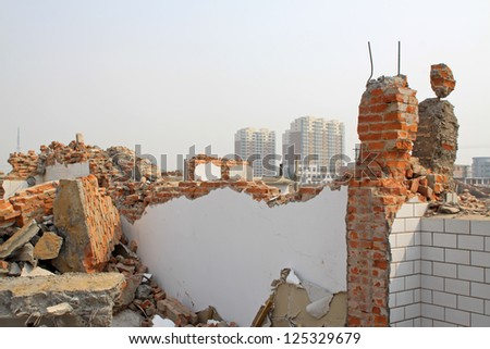 housing demolition materials in the demolition site, take photos in Luannan County, Hebei Province of China