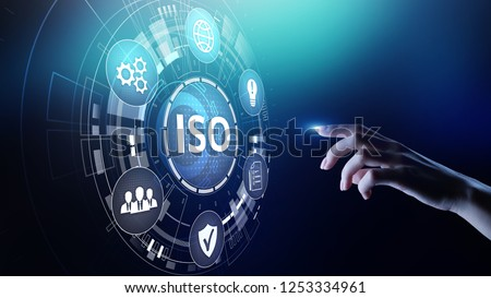ISO standards quality control assurance warranty business technology concept. #1253334961