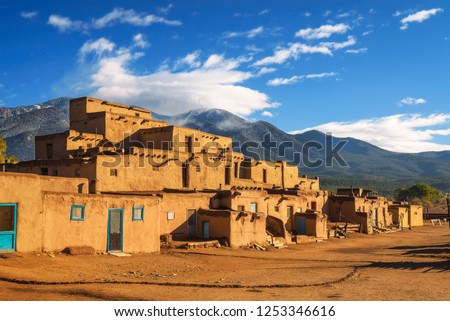 Ancient dwellings of UNESCO World Heritage Site named Taos Pueblo in New Mexico. Taos Pueblo is believed to be one of the oldest continuously inhabited settlements in USA. #1253346616