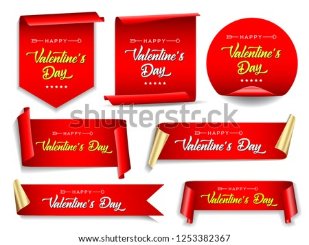 Valentines day banners set. Ribbons and round sticker. Paper scrolls. Vector illustration. #1253382367