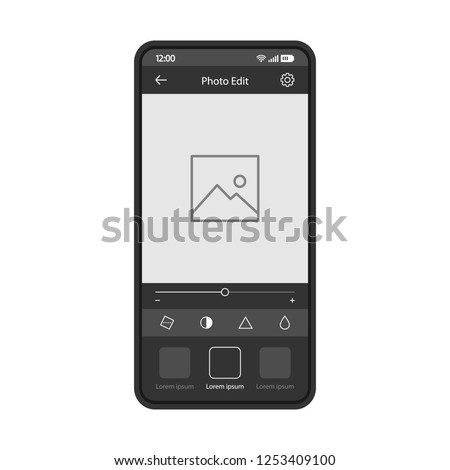 Photo editing smartphone app vector template. Mobile application interface black design layout. Photo edition filter effect screen. Flat UI. Phone display with social media post editor