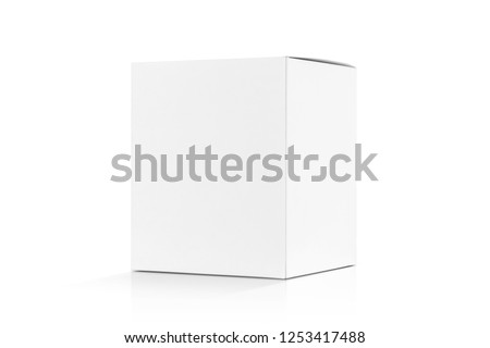 blank packaging white cardboard box isolated on white background with clipping path ready for product design #1253417488