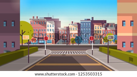 city street building houses architecture empty downtown road urban cityscape early morning sunrise horizontal banner flat Royalty-Free Stock Photo #1253503315