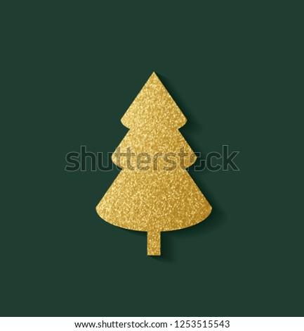 Beautiful Golden Christmas Tree #1253515543