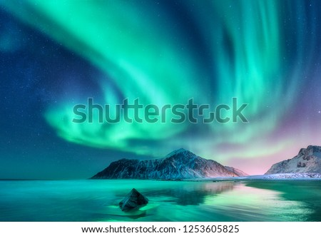 Aurora borealis. Northern lights in Lofoten islands, Norway. Sky with polar lights and stars. Night winter landscape with aurora, sea with sky reflection, stones, sandy beach and snowy mountains #1253605825