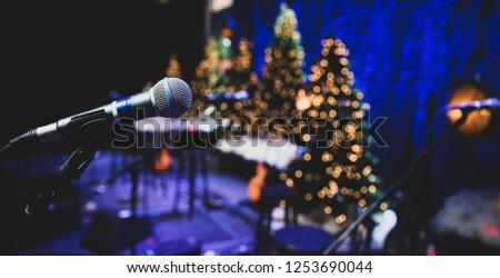 Microphone on stage during Christmas holiday show #1253690044