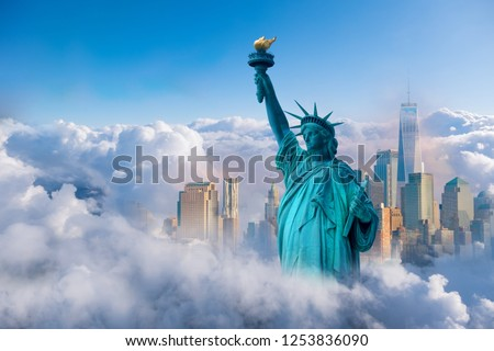 skyline cityscape, Landmarks of New York City, USA Royalty-Free Stock Photo #1253836090