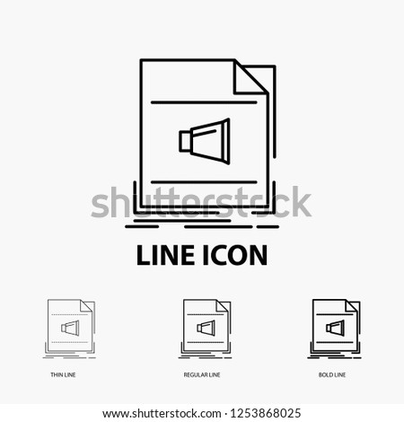 Audio, file, format, music, sound Icon in Thin, Regular and Bold Line Style. Vector illustration